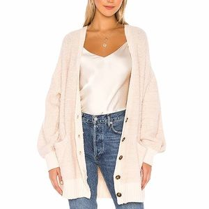 Free People Snow Drop Ivory Cardigan Sweater